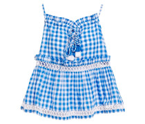 Ruffle-trimmed Tasseled Checked Cotton-gauze Top