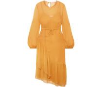 Gathered Silk-georgette Midi Dress