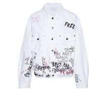 Mary Oversized Distressed Printed Denim Jacket White