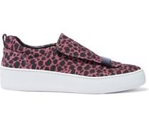Slip-ons aus Webstoff mit Leopardenprint und Glitter-finish