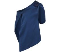 One-shoulder Hammered Stretch-silk Satin Top