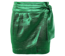 Cobalt Crinkled-satin Mini Wrap Skirt