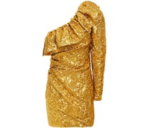 One-shoulder Ruffled Metallic Brocade Mini Dress