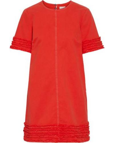 Woman Ashton Frayed Stretch-cotton Twill Mini Dress Papaya