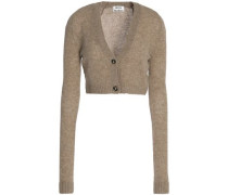 Cropped mélange wool cardigan