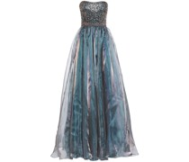 Flared Embellished Tulle And Organza Gown