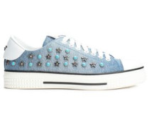 Leather-paneled Studded Denim Sneakers Light Denim