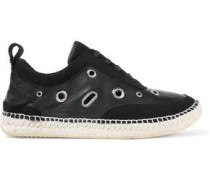 Embellished suede and leather sneakers