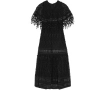 Leather And Guipure Lace-trimmed Embroidered Mesh Maxi Dress Schwarz