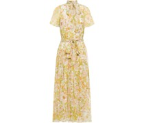 Tie-neck Floral-print Silk-georgette Midi Dress