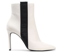Woman Ranita Grosgrain-trimmed Leather Ankle Boots Ecru