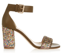 Collection Glittered Leather Sandals Grün