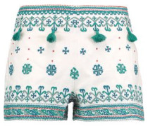 Anya tassel-trimmed embroidered cotton shorts
