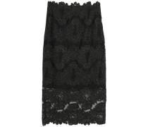 Metallic lace midi skirt