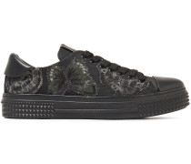 Camubutterfly Leather-trimmed Appliquéd Canvas Sneakers