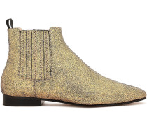 Coated Metallic Suede Ankle Boots
