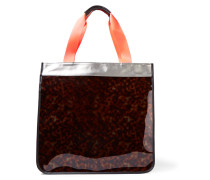 Hero Leather-trimmed Pvc And Coated Canvas Tote Horn