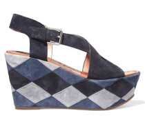 Gella Patchwork Suede Wedge Sandals Navy