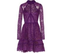Paneled Lace And Silk-georgette Mini Dress Lila