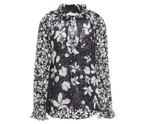 Woman Pussy-bow Floral-print Silk-georgette Blouse Black