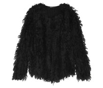 Fringed Knitted Jacket Schwarz