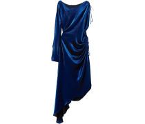 Asymmetric Metallic Stretch Silk-blend Maxi Dress