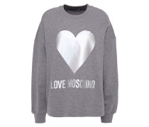Woman Printed Mélange French Cotton-terry Sweatshirt Gray