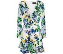 Jodie Ruffle-trimmed Floral-print Devoré-velvet Mini Dress