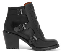Quilted And Smooth Leather Ankle Boots Schwarz