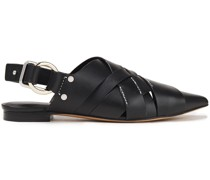 Woven Leather Slingback Point-toe Flats