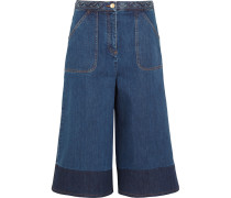 Two-tone Denim Culottes Mittelblauer Denim
