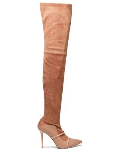 Suede And Leather Thigh Boots Antique Rose