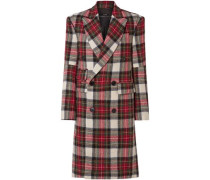 Double-breasted Checked Wool Coat Red
