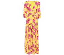 Salma Belted Floral-print Crepe De Chine Maxi Dress