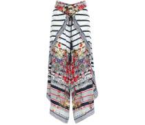 Joie De Vivre Asymmetric Embellished Printed Silk Crepe De Chine Culottes