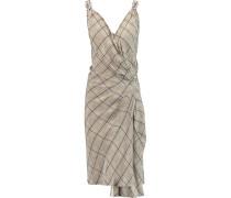 Faye Embellished Checked Silk Crepe De Chine Wrap Dress Schwarz