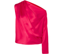 One-shoulder Draped Silk-charmeuse Top