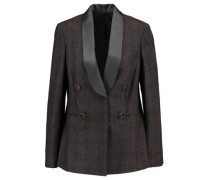 Satin-trimmed checked wool-blend blazer