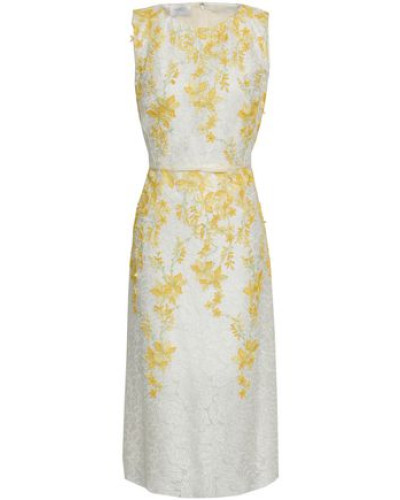 Floral-appliquéd Embroidered Organza Dress Yellow