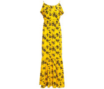 Ruffle-trimmed Gathered Floral-print Stretch-crepe Maxi Dress