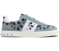 Embellished Leather-paneled Suede Sneakers Sky Blue