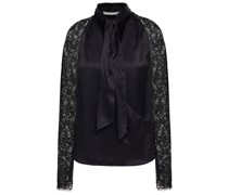 Tie-neck Corded Lace And Silk-satin Blouse
