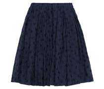 Pleated Embroidered Linen-blend Skirt