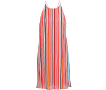 Kalia Striped Crepe De Chine Halterneck Mini Dress