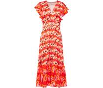 Dragonfly Ruffled Floral-print Satin-crepe Midi Dress