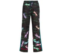 Woman Ettore Printed Scuba Wide-leg Pants Forest Green