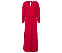 Gathered Pleated Woven Midi Dress