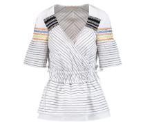 Striped Paneled Cotton And Silk-blend Poplin Top Wollweiß