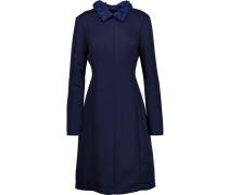Faux Leather-trimmed Crepe Dress Königsblau