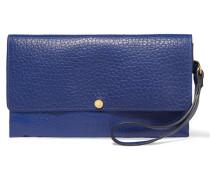 Textured-leather Clutch Königsblau